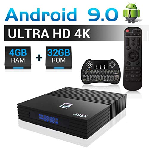 A95X F2 Android TV Box 9.0, 【4G+32G】 TV Box de Bluetooth 4.0 S905X2 Quad-Core 64bit G31 GUP, USB 3.0 Box Android TV LAN100M Wi-FI 2.4G/5G TV Box Ultra HD 4K 3D Smart TV Box avec Mini-Clavier
