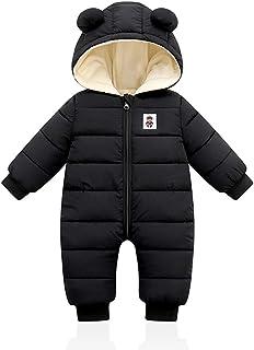 Minizone Baby Winter Overall mit Kapuze, Strampler Schneeanzug Jungen Mädchen Langarm Jumpsuit Warm Outfits Geschenk 3-18 Monate