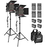 Neewer 2-Pack Dimmable Bi-color 660 LED Video Light with Barndoor and 6.5 feet Light Stand Li-ion Battery Charger Lighting Kit for Photo Studio YouTube Video Shooting(Red)