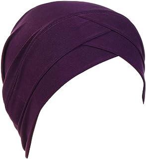 Elegante Cotton Cappello Donna,Tukistore Chemioterapia Cappello da Donna Pieghe Turbante Bandana di Chemio Dormire Berretto Beanie