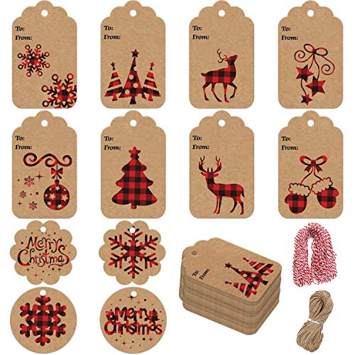 STEFORD Christmas Kraft Paper Gift Tags,120 PCS Christmas Label Gift Tags with 230 feet String