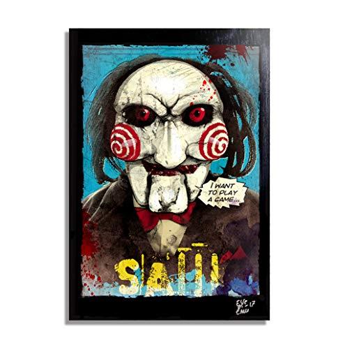 Billy el titere de SAW (Jigsaw) - Pintura Enmarcado Original, Imagen Pop-Art, Impresión Póster, Impresion en Lienzo, Cuadro, Cómics, Cartel de la Película, Horror, Halloween