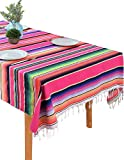 BOXAN 59 x 84 Inch Mexican Blanket Striped Tablecloth for Festive Mexican Fiesta Wedding Party Decorations, Chic Square Natural Cotton Serape Blanket Dining Table Cloth Cinco De Mayo Gifts for Mom