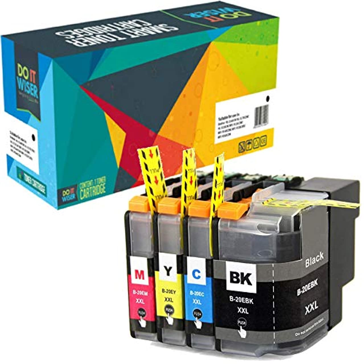 Do it Wiser Compatible Ink Cartridge Replacement for Brother LC20E LC20EBK MFC-J5920DW (Black Cyan Magenta Yellow, 4-Pack)