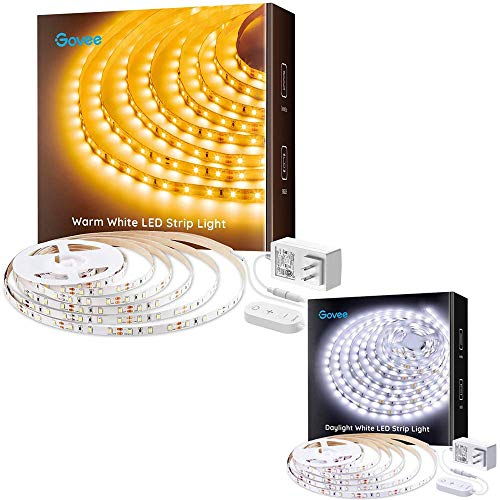 Govee LED Strip Lights Warm White 3000K Dimmable 16.4ft Light Strip with Ultra Bright 300 LEDs Bundle with 16.4ft Dimmable LED Light Strip 6500K Bright Daylight White, 300 LEDs Flexible Tape Lights