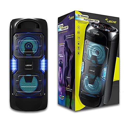 LEICKE Bluetooth Lautsprecher DJ Roxxx PArtybox | Party Lautsprecher tragbar, Speaker mit USB, Aux In, UKW Radio, Musikbox mit Beleuchtung