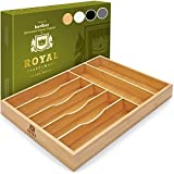 Bamboo Kitchen Drawer Organizer Tray for Flatware - Best Cutlery Tray for Silverware and Kitchen Utensils, 17 x 13 inches (Natural)