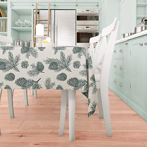 Mantel Saewelo lavable y antimanchas, de tela prémium, para interior o exterior, Oeko-Tex, poliéster, Madera de pino., 140 x 180