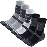 KEECOW Hiking Socks For Men & Women 5 Pairs Crew Socks Cushion (Medium, 2 x Black,2 x Grey,1 x White)