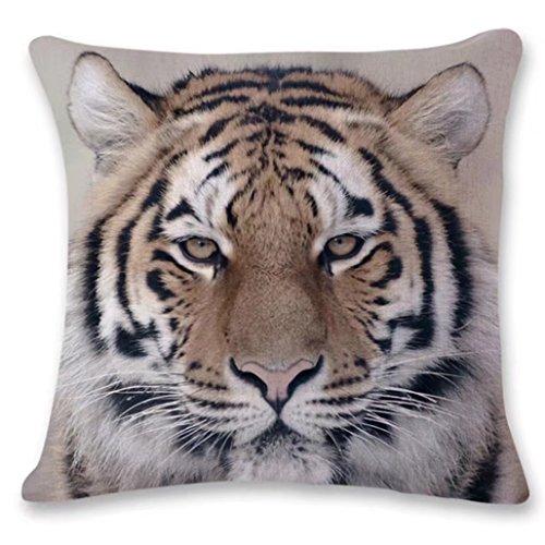 H.eternal Animal Pillow Cases, Tiger Lion Gorilla Owl Cat Home Decoration Sofa Waist Throw Pillow Case Cotton Linen Cushion Cover 18 X 18 Inch