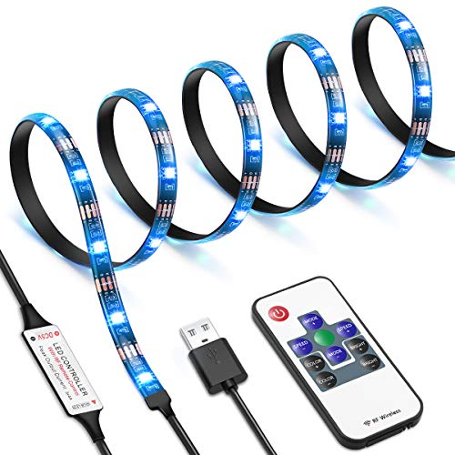 AMIR LED Streifen, LED Streifen USB 1M, RGB LED Strip mit Fernbedienung, 20 Farbwechsel, 19 Modi, Verstellbare Helligkeiten, TV LED Hintergrundbeleuchtung für TV, Party, Weihnachten usw