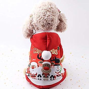 Idepet Sweat à Capuche Chien Chat Manteau d'automne d'hiver Chaud pour Animaux de Compagnie de Noël Vêtements de Chien de Coton avec Bouton De Plein air Combinaison de Chien pour Petits Chiens