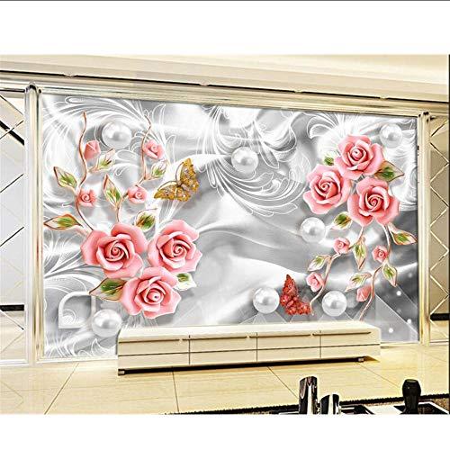 MRQXDP Behang Kralen Decoratieve Bloemenprint Woonkamer Slaapkamer Mural Papel de Parede 250x360cm
