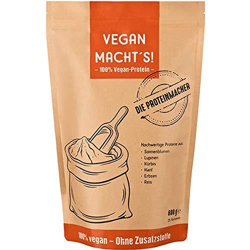 VEGAN MACHT'S - Veganes Proteinpulver - 100% veganes Protein, 0% Zusatzstoffe. Für Veganer und Allergiker – laktose- und glutenfrei. (600 Gramm Pulver)