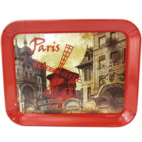 Les Trésors De Lily [M1324 - Petit Plateau 'Moulin Rouge' Rouge Beige Vintage (15x20 cm)