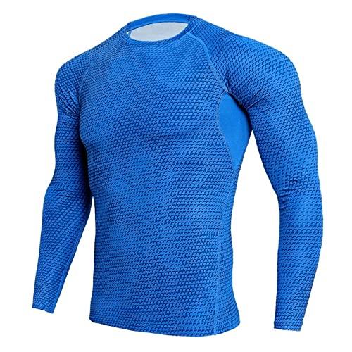 BIBOKAOKE Camiseta funcional de manga larga para hombre, de secado rápido, deportiva, de moda, serpentina, estampada, de manga larga, elástica, transpirable, para correr, de compresión, Blau51., XXXL