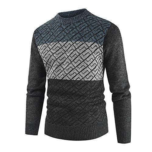 Luandge Suéter a Juego de Color con Cuello Redondo para Hombre Moda clásica Cómoda Ropa de Calle Informal de Punto 3XL