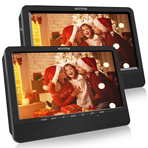 """WONNIE 2021 Modelle 10. 5\"""" DVD Player Auto 2 Bildschirme Tragbare DVD Player 4 Stunden Spielzeit mal 1024 * 600 HD Kopfstütze Fernseher, Unterstützung für USB/SD, AV IN/Out"""