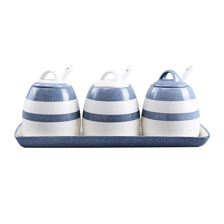 Porcelain Canisters,Set of 3 Spice Jar with Airtight Ceramic Lid,Kitchen Seasoning Jar (Blue)