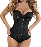 EUDOLAH Floral Pleated Trim Bustier Fancy Women Corset Dress Sexy Laced Lingerie(Black,S)