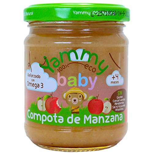 Yammy, Potito ecológico Manzana y Omega 3 a partir de 4 meses - 12 de 195 gr. (Total 2340 gr.)