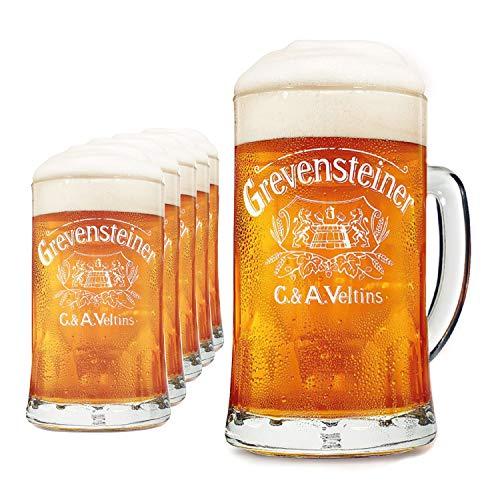 Boccale birra Grenvensteiner 6 pz | Set bicchieri birra 0,3 l | Bicchieri da birra con manico | Boccale birra personalizzato Grenvensteiner