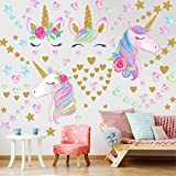 4 Sheets Unicorn Wall Decor,Removable Unicorn Wall Decals Stickers Decor for Gilrs Kids Bedroom Nursery Birthday Party Favor