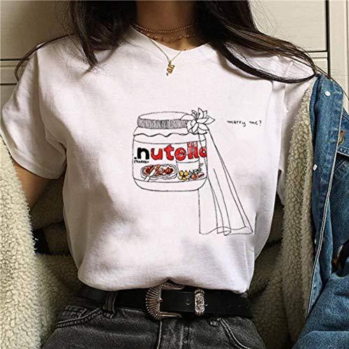 LMSDALAO Kawaii Nutella Cartoon T Shirt Frauen 90er Jahre Mode T Shirt Harajuku Ullzang Nette Cartoon Grafik T Shirt Koreanischer Stil Top Weiblich