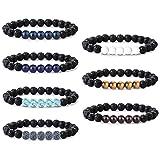 Jstyle 7Pcs Lava Rock Bracelets for Men Women Natural Stone Stretch Elastic Bracelets,Adjustable Braided Rope Essential Oil Diffuser Yoga Bracelet Elastic Rope