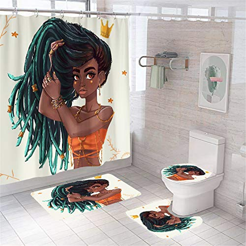 4 Pcs Cool Dirty Girl Shower Curtain Sets with Non-Slip Rug, Toilet Lid Cover and Bath Mat, Ocean Conch Nautical Shower Curtain with 12 Hooks, Waterproof Personality Pattern Bath Curtain