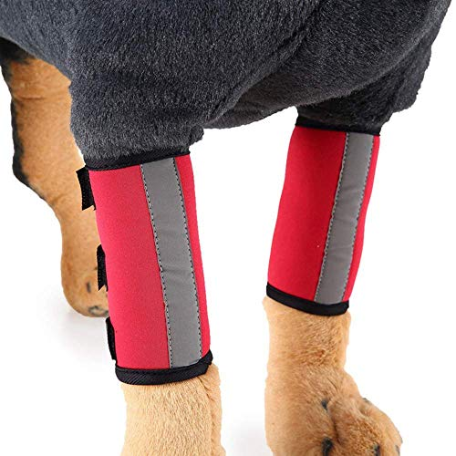 1 Pair Reflective Tape Elbow Protectors, Dog Front Leg Braces Pet Knee Pads Dog Elbow Protector Help...
