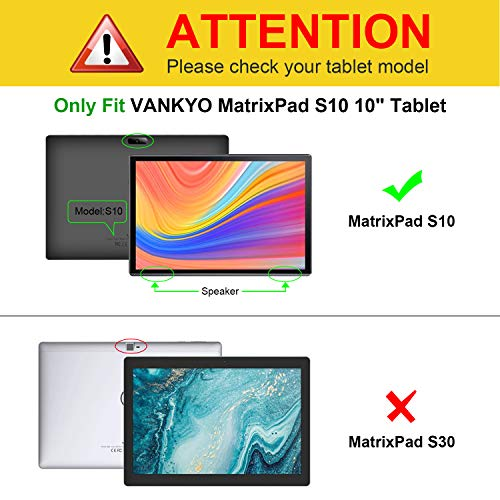 Fintie Hülle für Vankyo S10 / AOYODKG A38 10 Zoll - Multi-Winkel Flip Betrachtung Kunstleder Schutzhülle mit Dokumentschlitze für Vankyo MatrixPad S10 / AOYODKG A38 Tablet, Schwarz