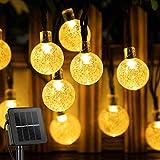 Guirnalda de 50 luces solares LED para exteriores, bolas de cristal de jardín impermeables, luces de hadas para interiores, para el hogar, jardín, Navidad, blanco cálido
