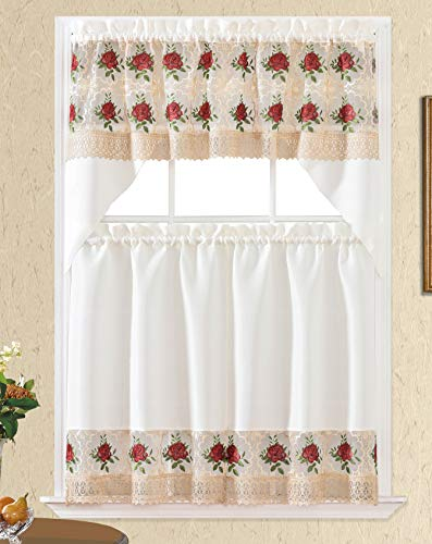 3pc Rod Pocket Embroidered Kitchen Curtains and Valances Set Swag Curtains & Tier Set 36 Inch Length Floral Fruit Designs Many Colors( BT349-RED)