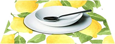 ZOEO Lemon Placemats Set of 6 Yellow Lime Tree Dining Table Mats Non Slip Vinyl Placemat Kitchen Heat Resistant Washable