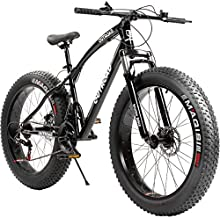 Outroad Fat Tire Mountain Bike 26 Inch Wheels Adult Bicycle, 21 Speeds Sand Trek Bike, Double Disc Brake Suspension Fork Big Tire Anti-Slip Bikes, Black