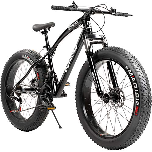 Outroad Fat Tire Mountain Bike 26 Inch Wheels Adult Bicycle, 21 Speeds Sand Trek Bike, Double Disc Brake Suspension Fork Big Tire Anti-Slip Bikes, Black