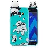 Nodigo Funda Compatible con Samsung Galaxy A3 2017 Silicona 3D Animal Dibujos Motivo Creativo Ultrafina Carcasa Case Antigolpes TPU Bumper Kawaii Resistente Cover - Panda Verde
