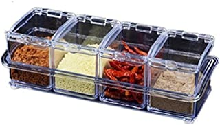 YYAI-HHJU 4 Pcs/Lot Nouveau Organisateur De Cuisine Boîtes De Rangement Ses Assaisonnement Pot Transparent Sucre Sel Boute...