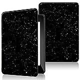 QITAYO Etuis Coques Kindle Paperwhite 2018 (10ème génération), Housse Protection en Cuir Imperméable et léger, Fermeture Magnétique, Réveil/Someil Automatique, Noir (Constellation)