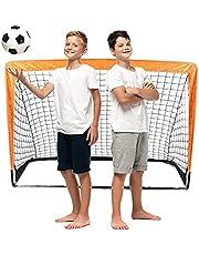 Raroauf Voetbaldoel voor kinderen, inklapbaar, opvouwbaar doel voor tuin, kinderen, voetbaldoel voor binnen en buiten, met draagtas 120 x 80 x 80 cm