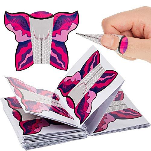 200 Piezas de Pegatinas de Extensión de Uñas Autoadhesivo en Forma de Mariposa Formas de Extensión de Uñas de Gel Formas de Guía de Uñas para Puntas de Uñas Acrílicas