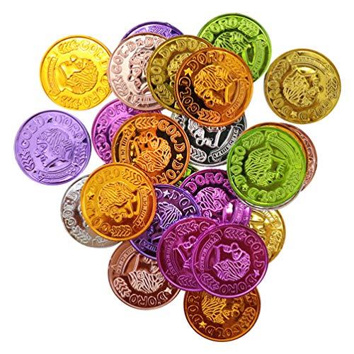 STOBOK 100 Piezas Monedas de Plstico de Piratas Monedas de Oro Monedas de Juego de Fiesta Nios Disfraces de Pirata Juguete de Pirata Suministros para Fiestas