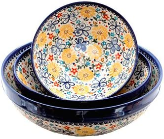 Blue Rose Polish Pottery New Phoenix Mall product Butterfly Piece 3 Bowl Set Serving