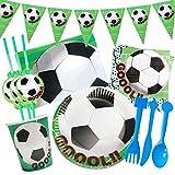 Gxhong 82PCS Cumpleaños Vajilla, Set de vajilla de Tema de fútbol para Fiestas Incluye Pancartas Platos Tazas Servilletas Cuchara Tenedores Cuchillos Cumpleaños Party Supplies