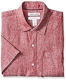 Amazon Essentials - Camisa de lino a rayas, de manga corta y corte entallado para hombre, Rojo, US S (EU S)