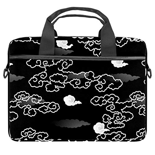 13-14.5 Inch Laptop Sleeve Case Japanese Auspicious Cloud White Black Grey Protective Cover Bag Portable Computer Notebook Carrying Case Briefcase Message Bag