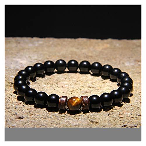 YCSC Pulsera Natural Moonstone Beads Tibetano Buda Pulsera Vintage Chakra Volcánico Lava Piedra Charm Pulsera Hombres Joyería (Length : 21CM, Metal Color : 10)