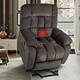Power Lift Chair Electric Recliner for Elderly, Heavy Duty Short-Pile Velour Fabric Electric Recliner Chair with Heat & Vibration, Massage Reclining Chairs for Living Room, DarkCoffee