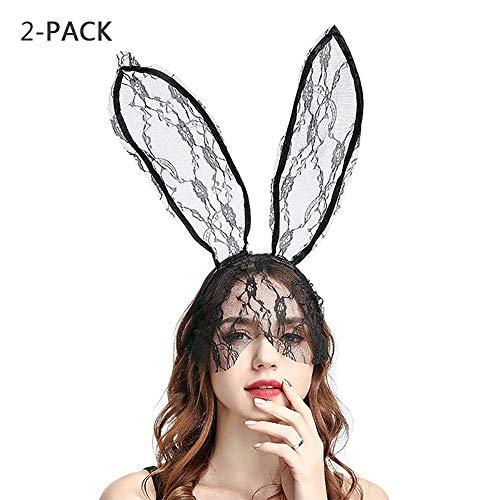 GFEU - Juego de 2 diademas de orejas de conejo venecianas sexy para disfraz de Halloween